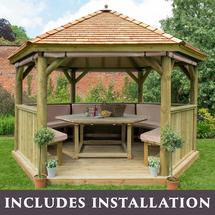 4m Hexagonal Gazebo with Cedar Roof - Furnished Cream