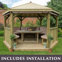 4m Hexagonal Gazebo with Timber Roof - Furnished Cream
