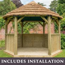 Hexagonal 3.6m Gazebo with Country Thatch Roof - Cream Roof Lining