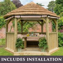 3.6m Hexagonal Gazebo with Thatch - Furnished Cream