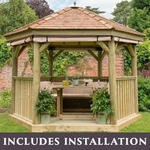 3.6m Hexagonal Gazebo with Cedar Roof - Furnished Cream