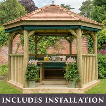 3.6m Hexagonal Gazebo with Cedar Roof - Furnished Green