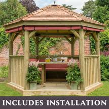 3.6m Hexagonal Gazebo with Cedar Roof - Furnished Terracotta