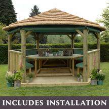 4.7m Hexagonal Gazebo with Thatched Roof - Furnished Green