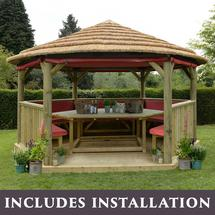 4.7m Hexagonal Gazebo with Thatched Roof - Furnished Terracotta