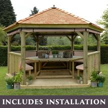 4.7m Hexagonal Gazebo with Cedar Roof - Furnished Cream