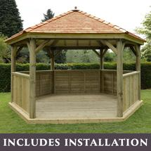 Hexagonal 4.7m Gazebo with New England Cedar Roof