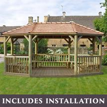 6m Oval Gazebo with Cedar Roof and Benches