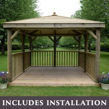 Square 3.5m Gazebo with Traditional Timber Roof
