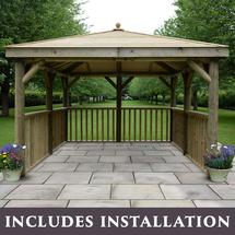 Square 3.5m Gazebo with Traditional Timber Roof Without Base