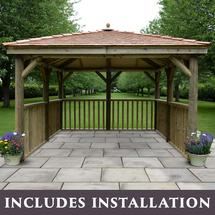 Square 3.5m Gazebo with New England Cedar Roof Without Base