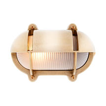 Medium Oval Bulkhead with Shade - Brass