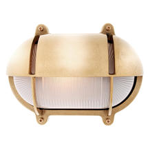 Extra Large Oval Bulkhead with Shade - Brass