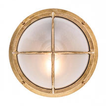 Round Bulkhead with Cross Grille - Brass