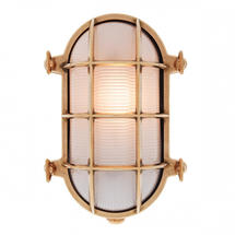Large Oval Bulkhead Wall Light - Brass