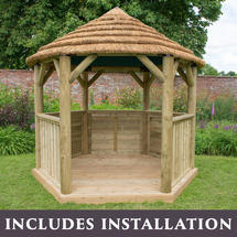 Hexagonal 3m Gazebo - Country Thatch Roof - with lining