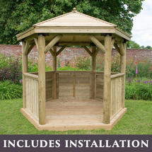 Hexagonal 3m Gazebo - Traditional Timber Roof