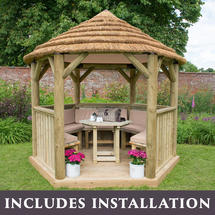 3m Hexagonal Gazebo with Thatch - Furnished Cream