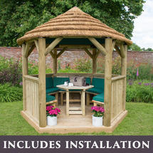 3m Hexagonal Gazebo with Thatch - Furnished Green