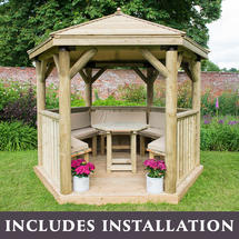 3m Hexagonal Gazebo with Timber Roof - Furnished Cream