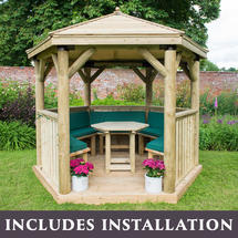 3m Hexagonal Gazebo with Timber Roof - Furnished Green