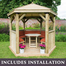 3m Hexagonal Gazebo with Timber Roof - Furnished Terracotta