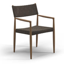 Tundra Dining Chair with Arms - Buffed Teak / Sable Wicker