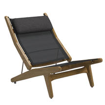 Bay Reclining Chair Buffed Teak - Anthracite Sling with Soot Headrest