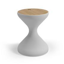 Bells Side Table Buffed Teak - White