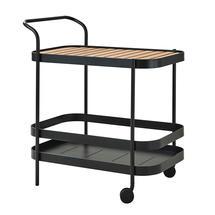 Roll bar trolley incl. teak table top - Lava grey
