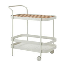 Roll bar trolley incl. teak table top - White