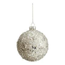 Silver Confetti Covered Bauble