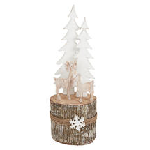 Birch Log Winter Reindeer Scene - Large