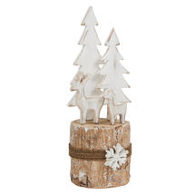 Birch Log Winter Reindeer Scene - Medium