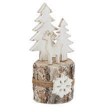 Birch Log Winter Reindeer Scene - Small