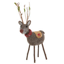 Festive Forest Felt Reindeer with Scarf - Small