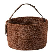 Outdoor Basket with leather handle - Vermillion