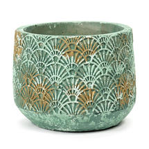 Verdigris Gilt Art Deco Pot - Medium