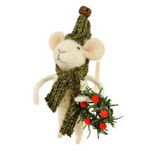 Carol Singing Christmas Mice with Wreath