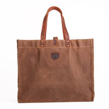 Large Waxed Canvas East West bag - Havana