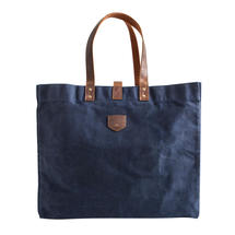 Large Waxed Canvas East West bag - Navy Blue