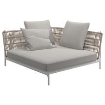Grand Weave Large Corner Unit White / Almond - Blend Linen