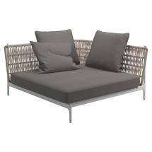 Grand Weave Large Corner Unit White / Almond - Fife Rainy Grey