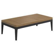 Grid Small Coffee Table - Natural Teak Top Meteor