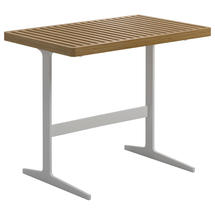 Grid Side Table - Buffed Teak Top White