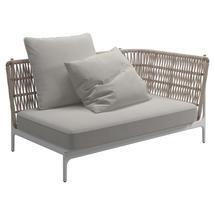 Grand Weave Right Corner / End Unit White / Almond - Blend Linen