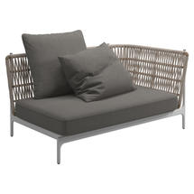 Grand Weave Right Corner / End Unit White / Almond - Fife Rainy Grey