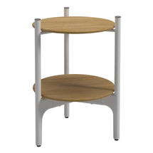 Grand Weave Side Table - Buffed Teak Top White