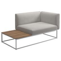 Maya Left / Right Teak End Table Unit 161 x 86 White- Blend Linen