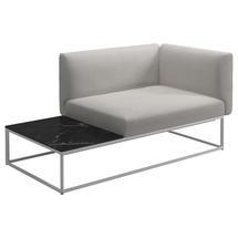 Maya Left / Right Nero Ceramic End Table Unit 161 x 86 White - Blend Linen